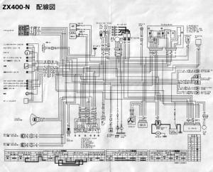 Схема электрооборудования мотоциклов Kawasaki ZX400N ZZR400