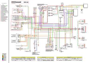 Схема электрооборудования мотоциклов Kawasaki ZXR400 H 1989