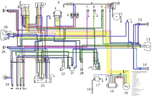 Схема электрооборудования мотоциклов Cagiva W16 600 / W16 600 T4 EMI