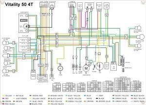 Схема электрооборудования скутеров Kymco Vitality 50 4T