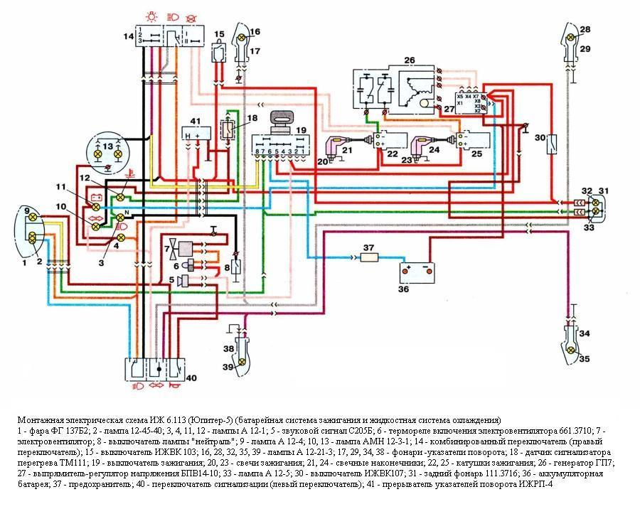 Схема электрооборудования мотоциклов ИЖ 6.113 (Юпитер-5)