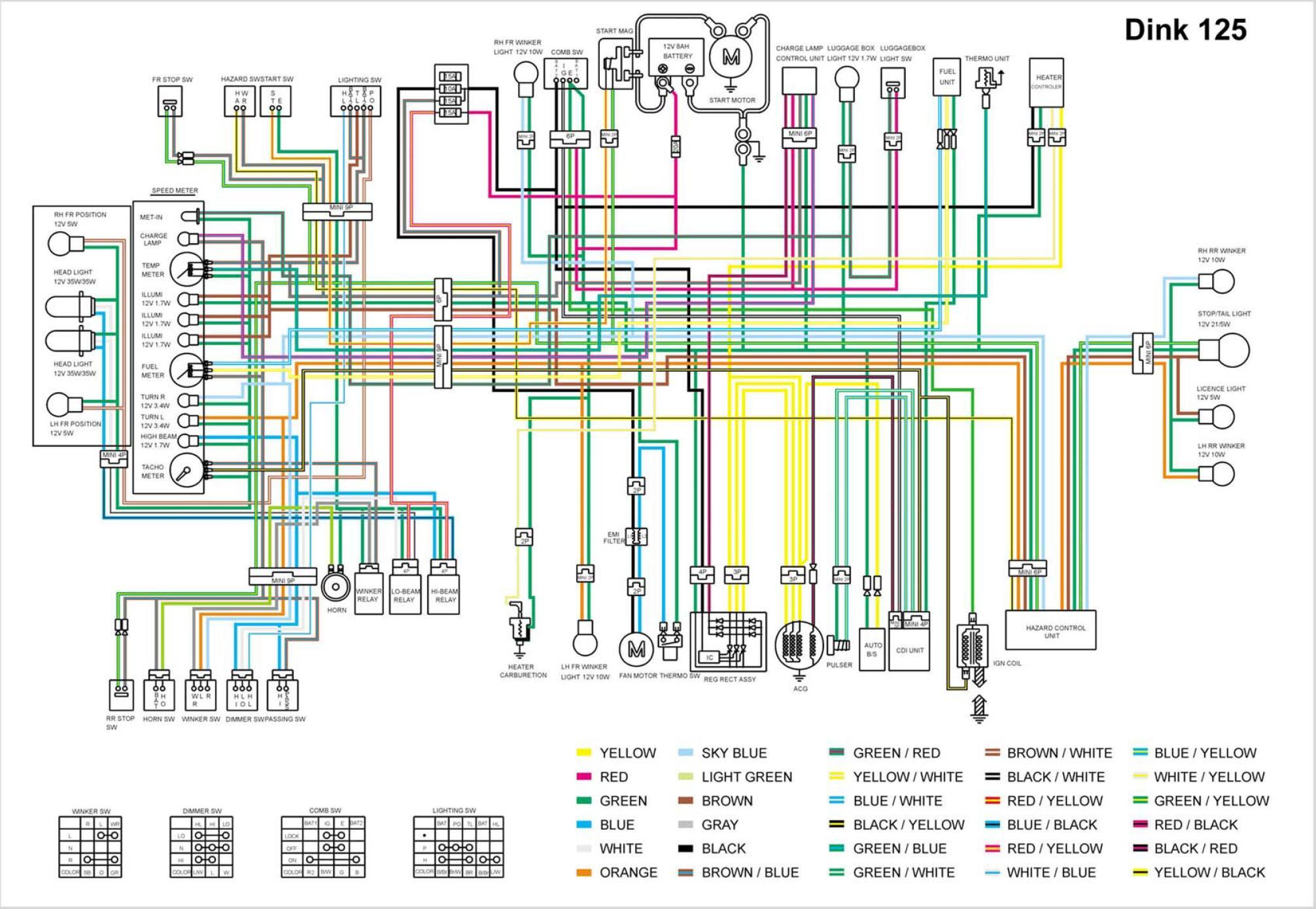 Схема электрооборудования скутеров Kymco Dink 125 D125