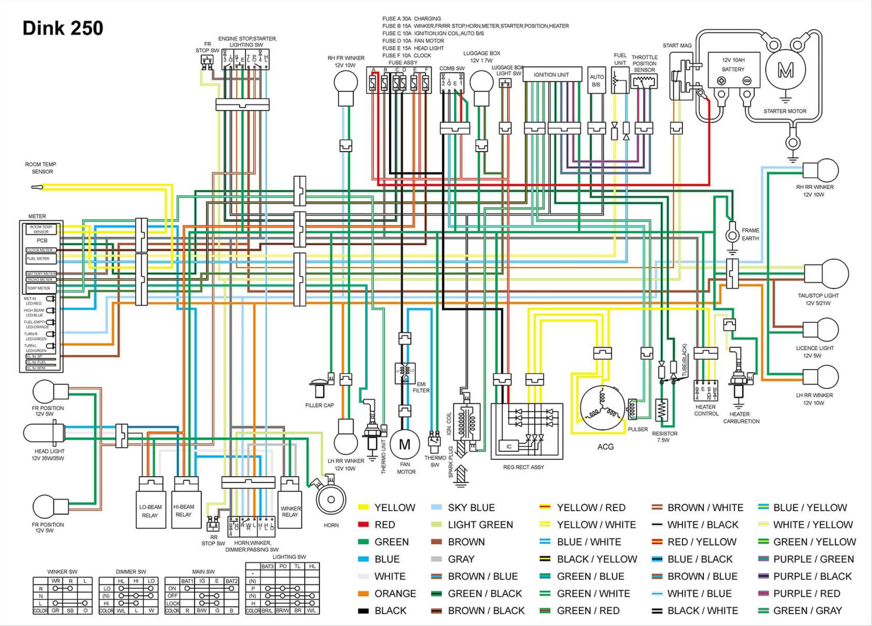 Схема электрооборудования скутеров Kymco Dink 250 D250
