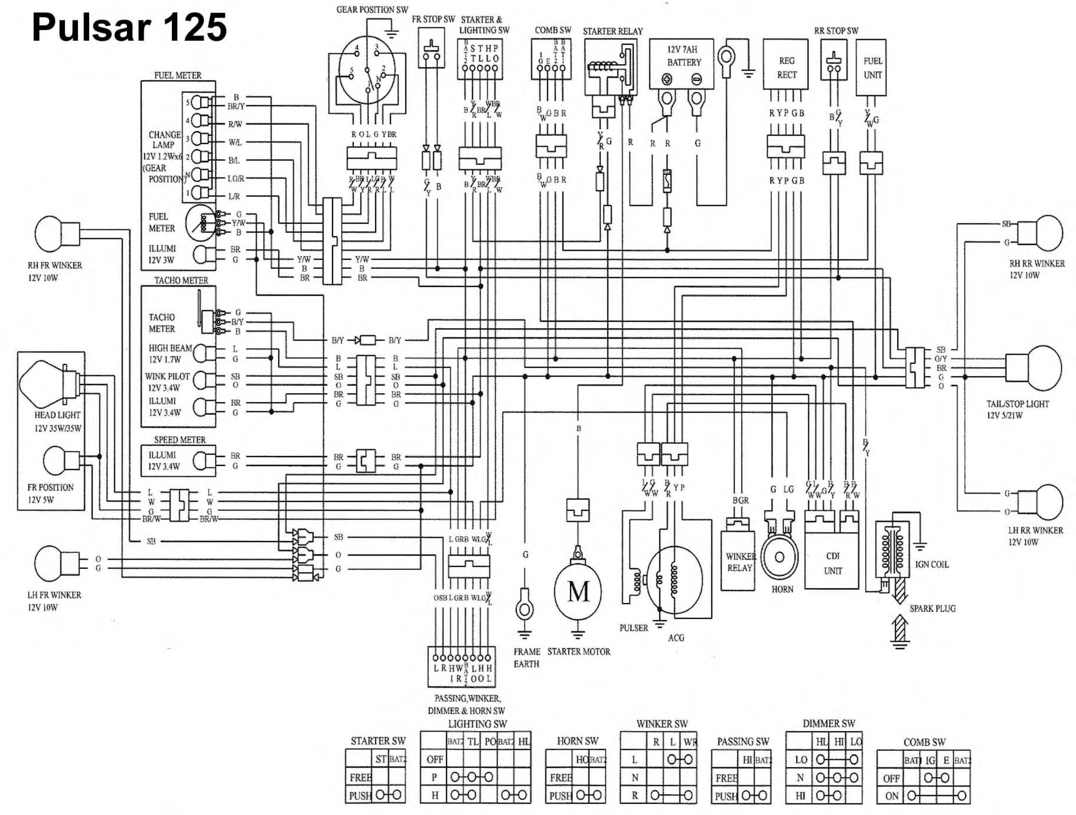 Схема электрооборудования мотоциклов Kymco Pulsar 125