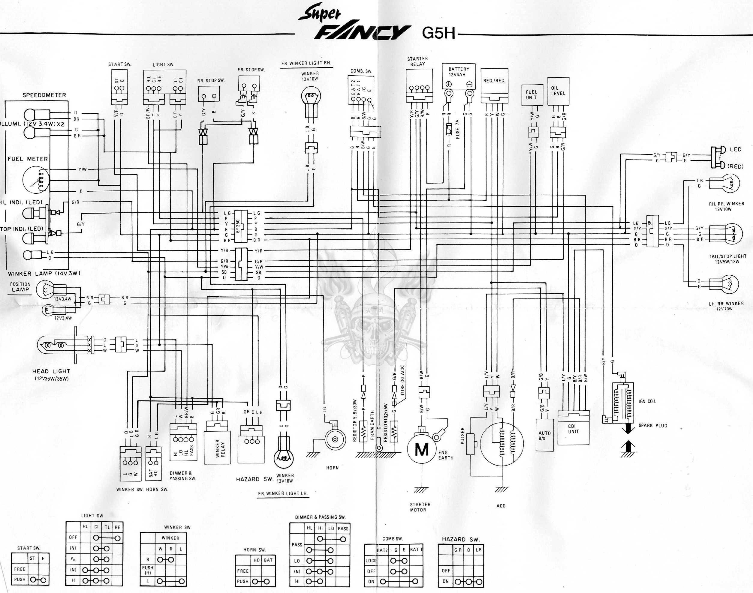 Схема электрооборудования скутеров Kymco Super Fancy G5H