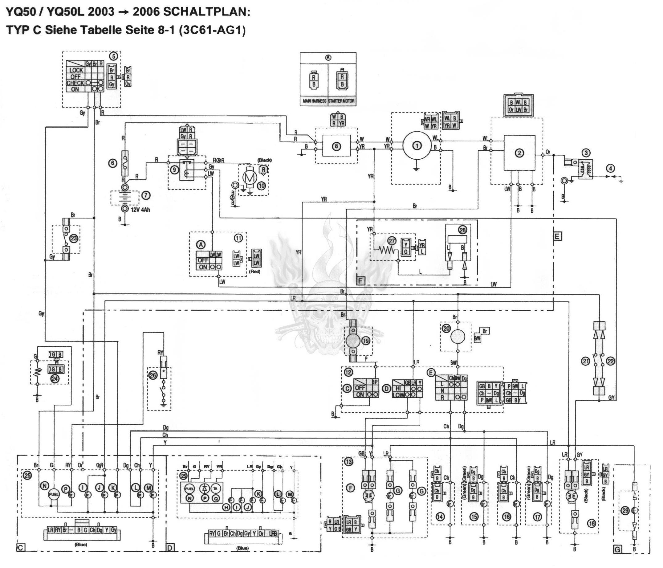 Схема электрооборудования скутеров Yamaha Aerox 2003