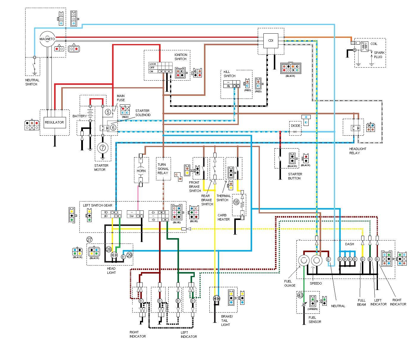 Схема электрооборудования мотоциклов Yamaha YBR125