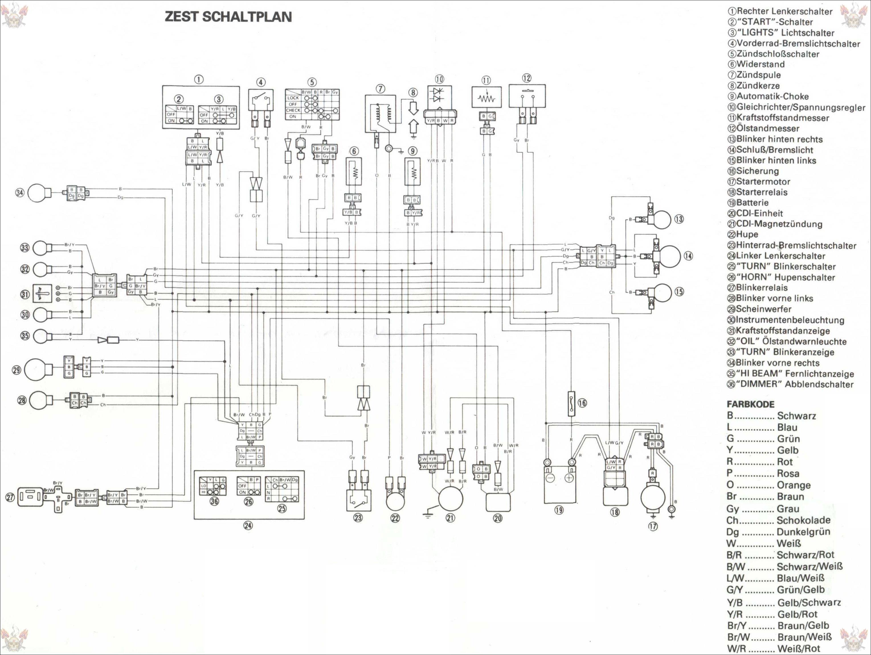 Схема электрооборудования скутеров Yamaha Zest 50