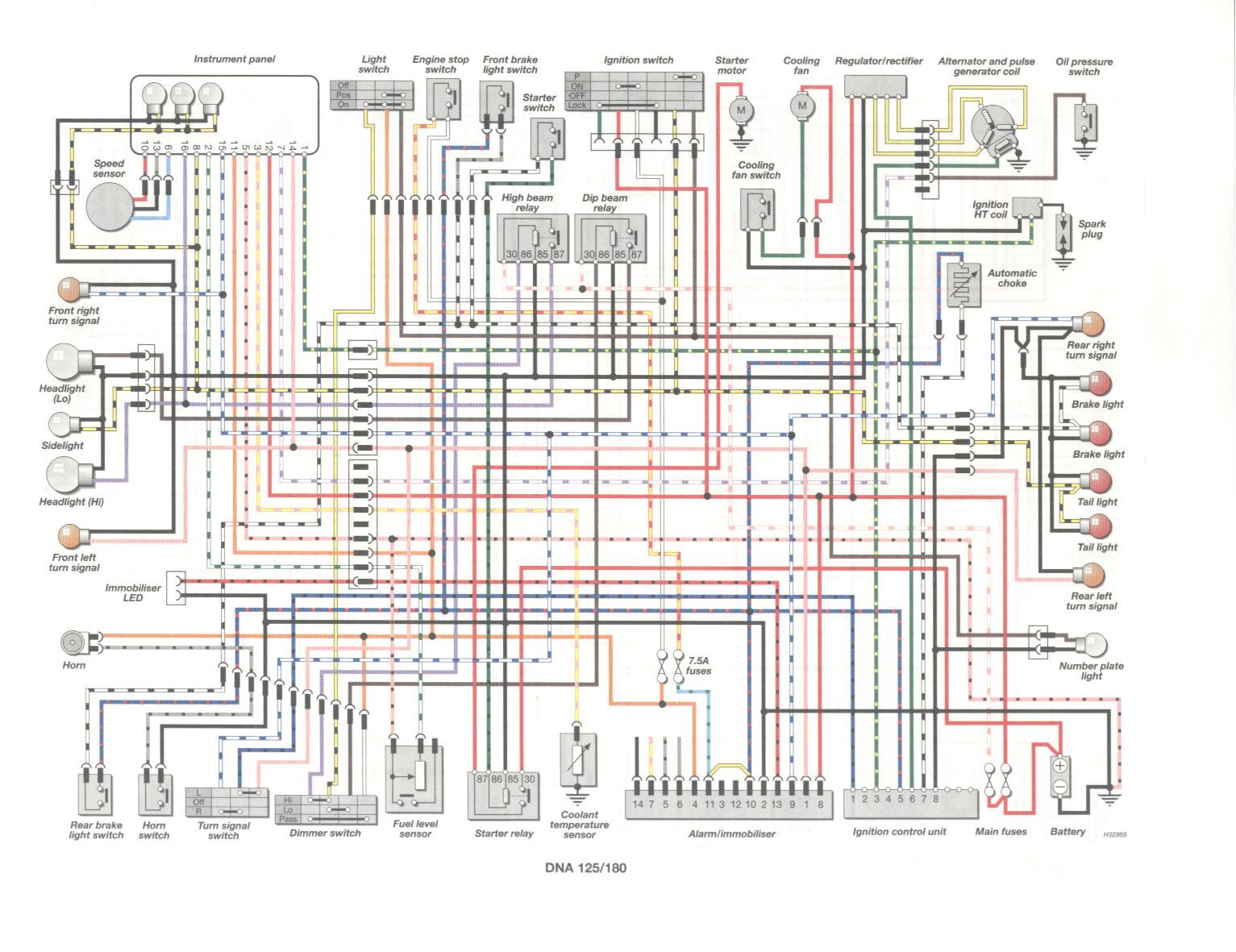 Схема электрооборудования скутеров Gilera DNA 125/180
