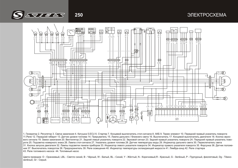 Схема электрооборудования скутеров Stels Caffenero 250
