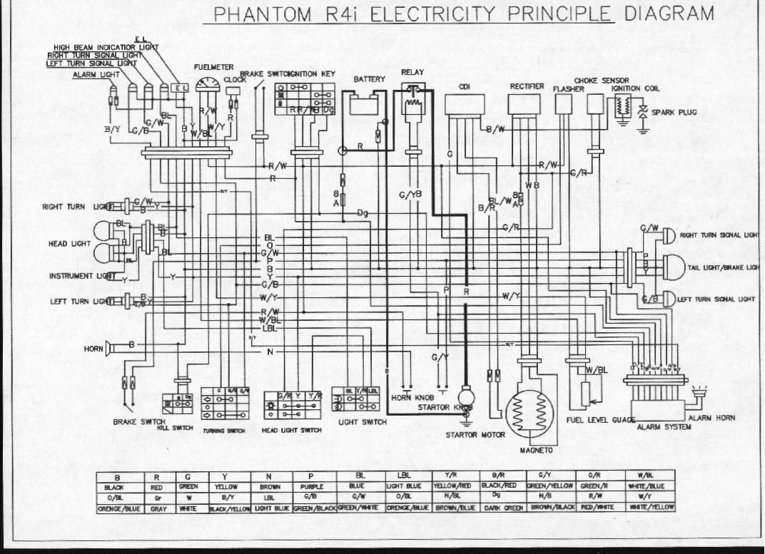 Схема электрооборудования скутеров Vento Phantom R4i