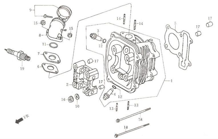Двигатель 157QMJ - головка цилиндра