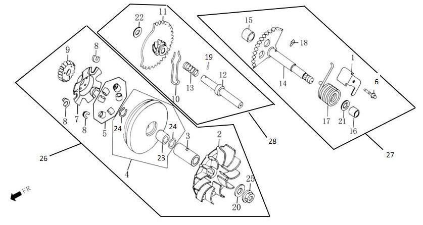 Двигатель 157QMJ - Ведущий шкив и кикстартер