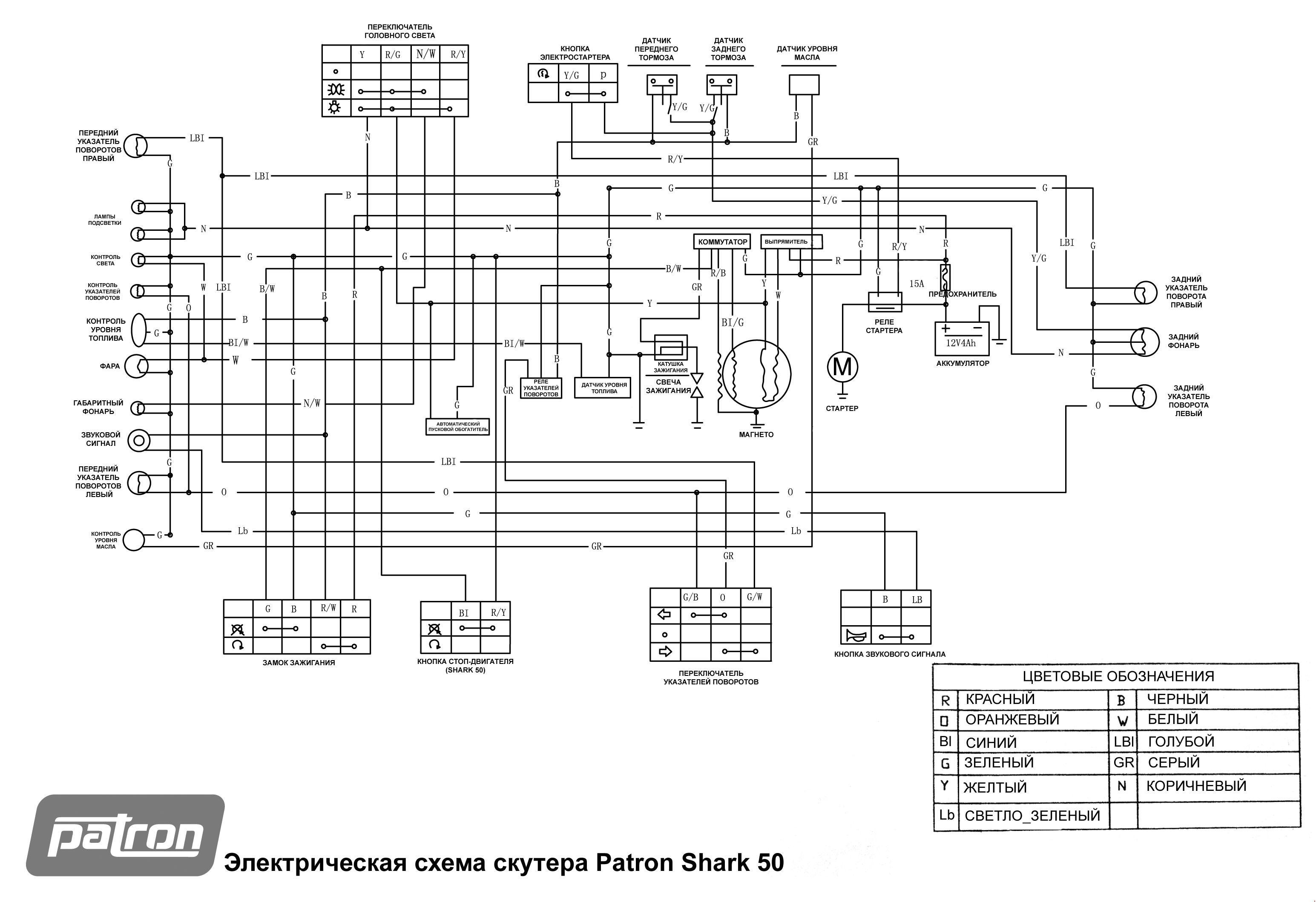 Электрическая схема скутера Patron Shark 50